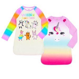 Girls' Wonder Nation Unicorns Fleece 2pc Gown Set